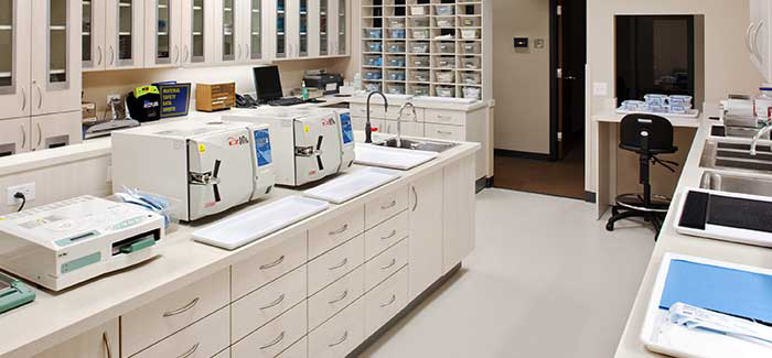 dental lab autoclave area.