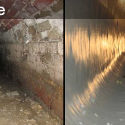 before and after views of waterline